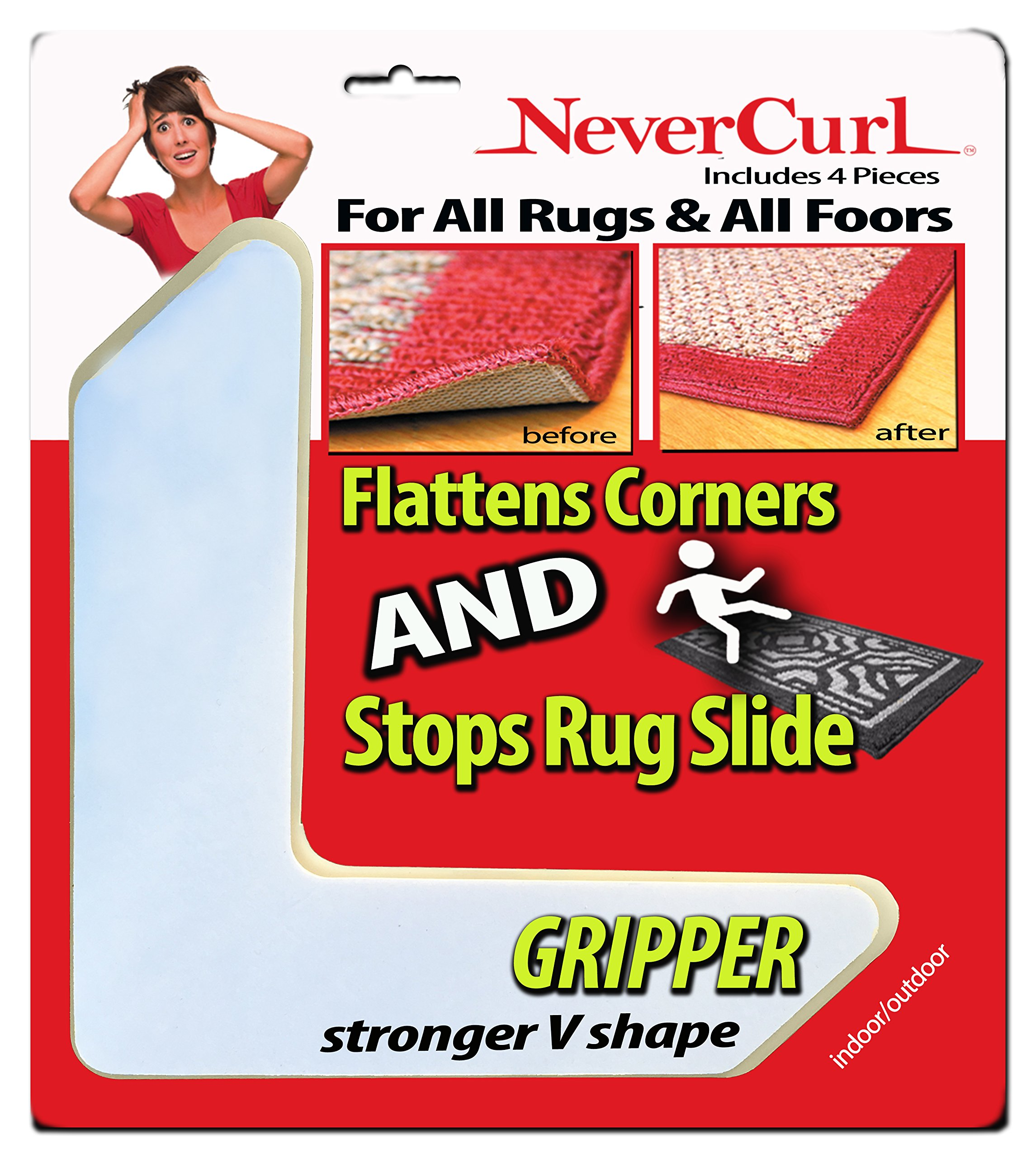 Grips the Rug with NeverCurl Includes 4''V'' Shape Corners - Patent Pending. Instantly Flattens Rug Corners AND Stops Rug Slipping. Gripper uses Renewable Sticky Gel. By NeverCurl