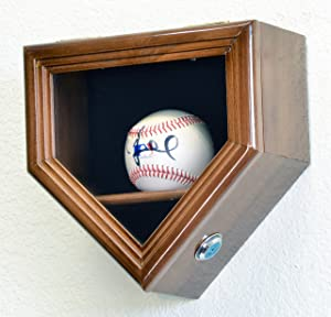 1 Baseball Ball Home Plate Display Case Holder Wall Rack Box w/98% UV Protection- Lockable -Walnut Finished