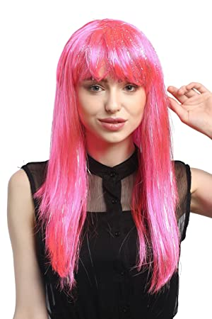 WIG ME UP ® - XR-003-PC5 Peluca señoras Carnaval Largo Liso mechones