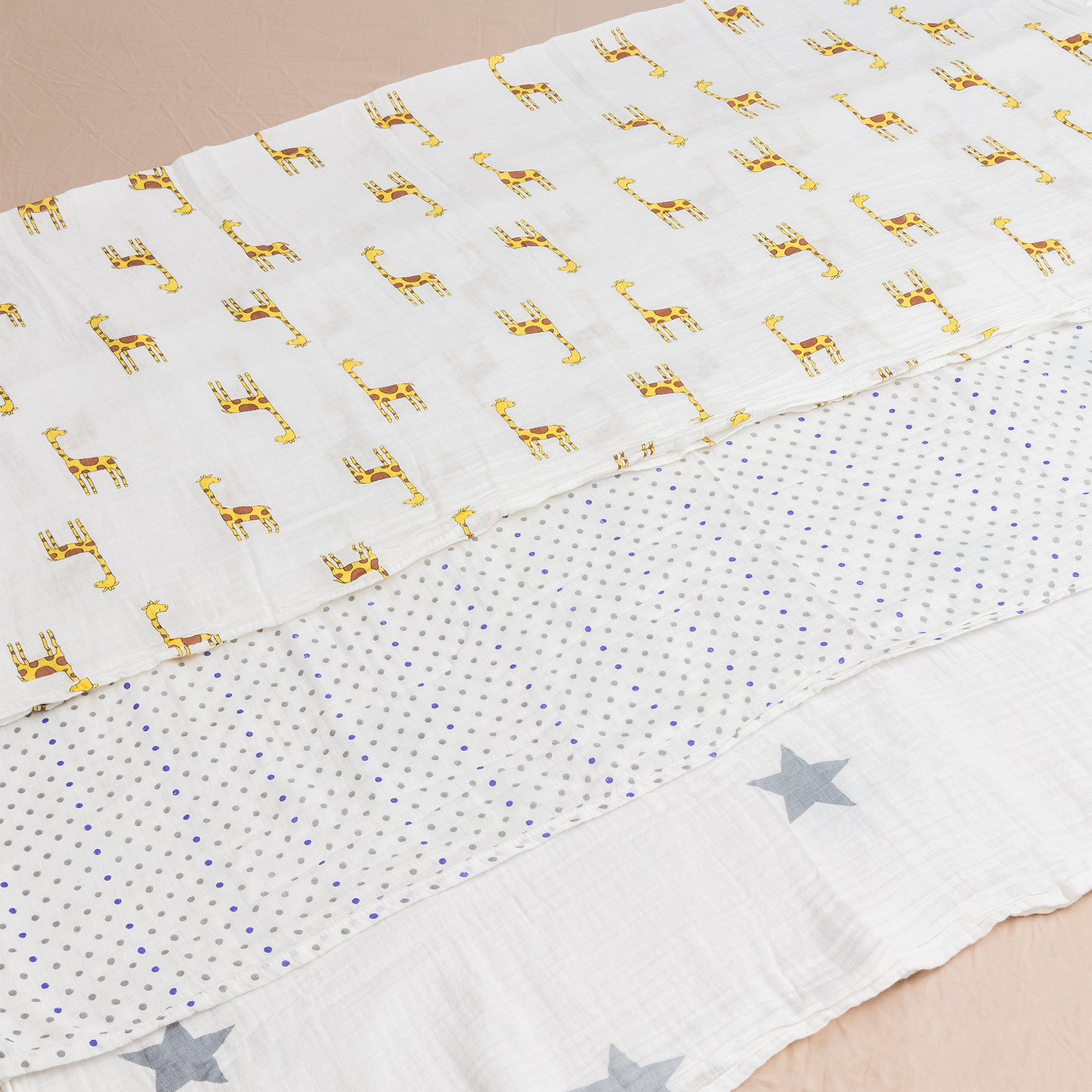 Muslin Swaddle Blankets for Sensitive Baby\'s - 47x47 inches - Unisex neutral design ideal for boy or girl baby