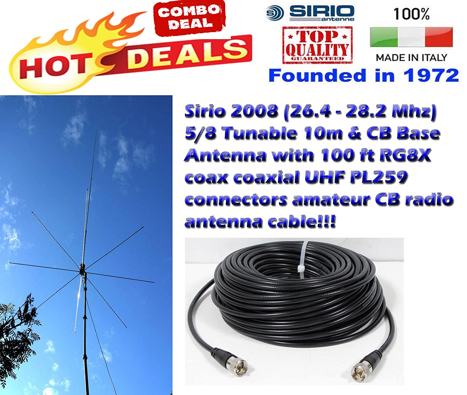 Amazon.com: Sirio 2008 (26,4 – 28,2 Mhz) 5/8 Tunable 32.8 ft ...
