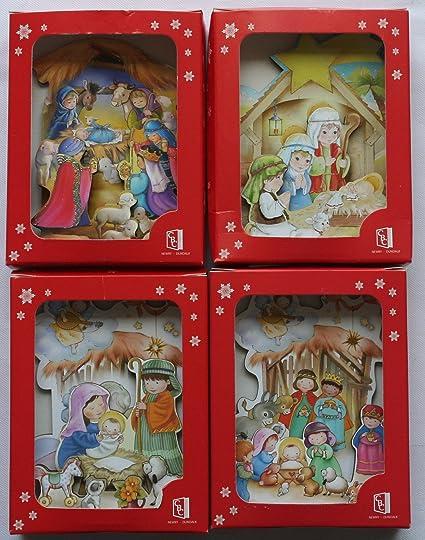 3D lienzos de madera del Portal de Belén. Juego de 4 diferentes escenas de Navidad