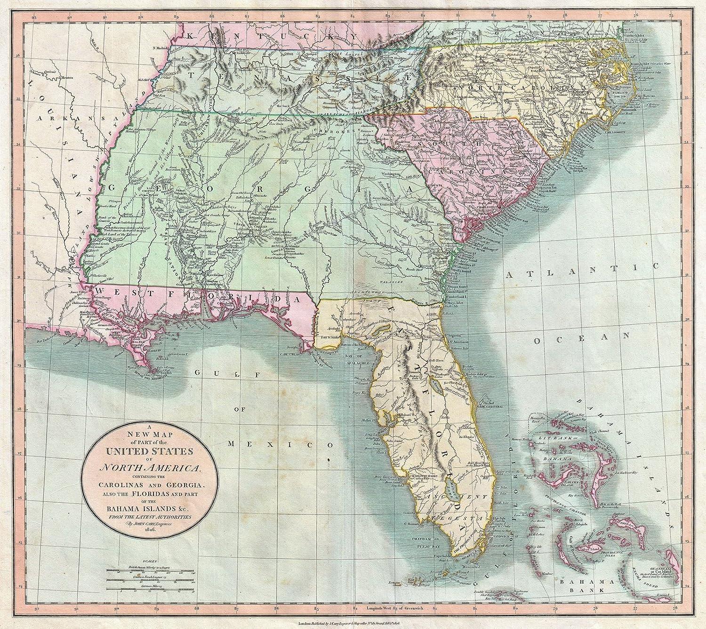 Amazon.com: Historic Map - Cary Map of Florida, Georgia ...