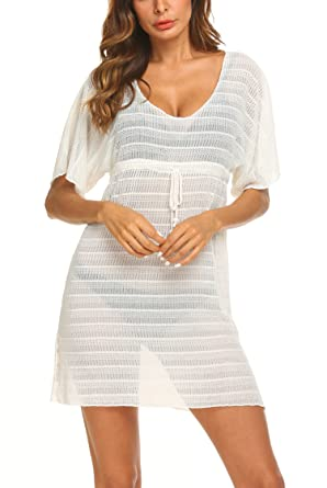 0e47056a5e Hount Women's Bathing Suit Cover Up Bikini Swimsuit Swimwear Crochet Beach  Dress (Small, White