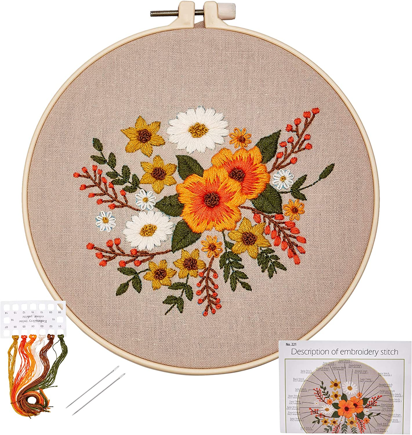 Embroidery Starter Kit with Pattern, Embroidery Kit for Beginners, Cross Stitch Needlepoint Craft Kits, Floral Pattern, Includes Embroidery Hoops, Color Threads, Embroidery Cloth, and Needles