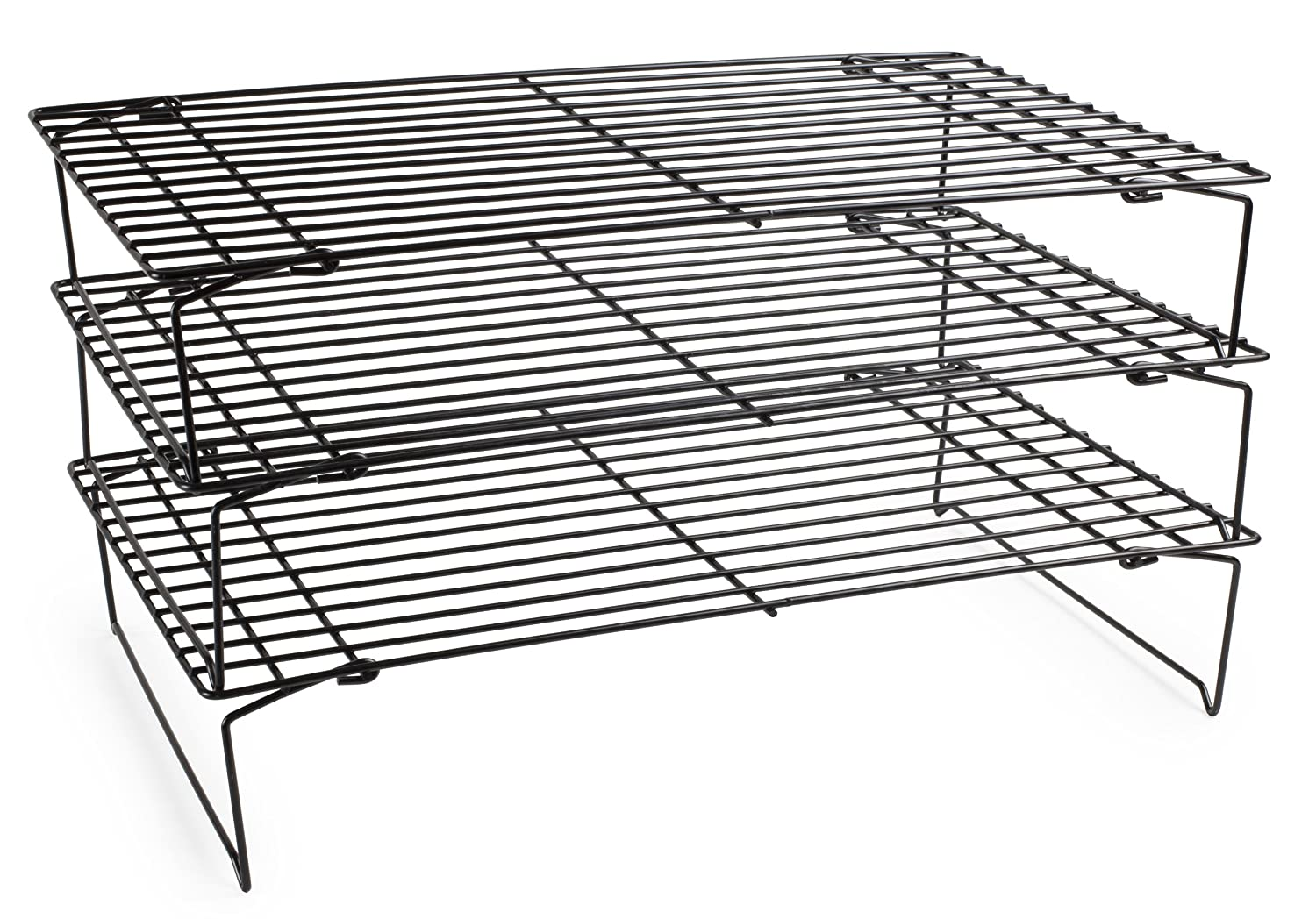 Andrew James E Saving 3 Tier Stackable Cooling Rack Each 39 5 X 25cm 7 5cm Vertical Collapsible Legs Heat Resistant For Oven Use