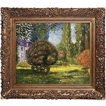 overstockArt Monet Il Parco Monceau Oil Painting with Burgeon Gold Frame, Organic Pattern Facade, Gold Finish