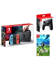 Nintendo Switch Konsole Neon-Rot/Neon-Blau + The Legend of Zelda: Breath of the Wild + Nintendo Switch Pro Controller