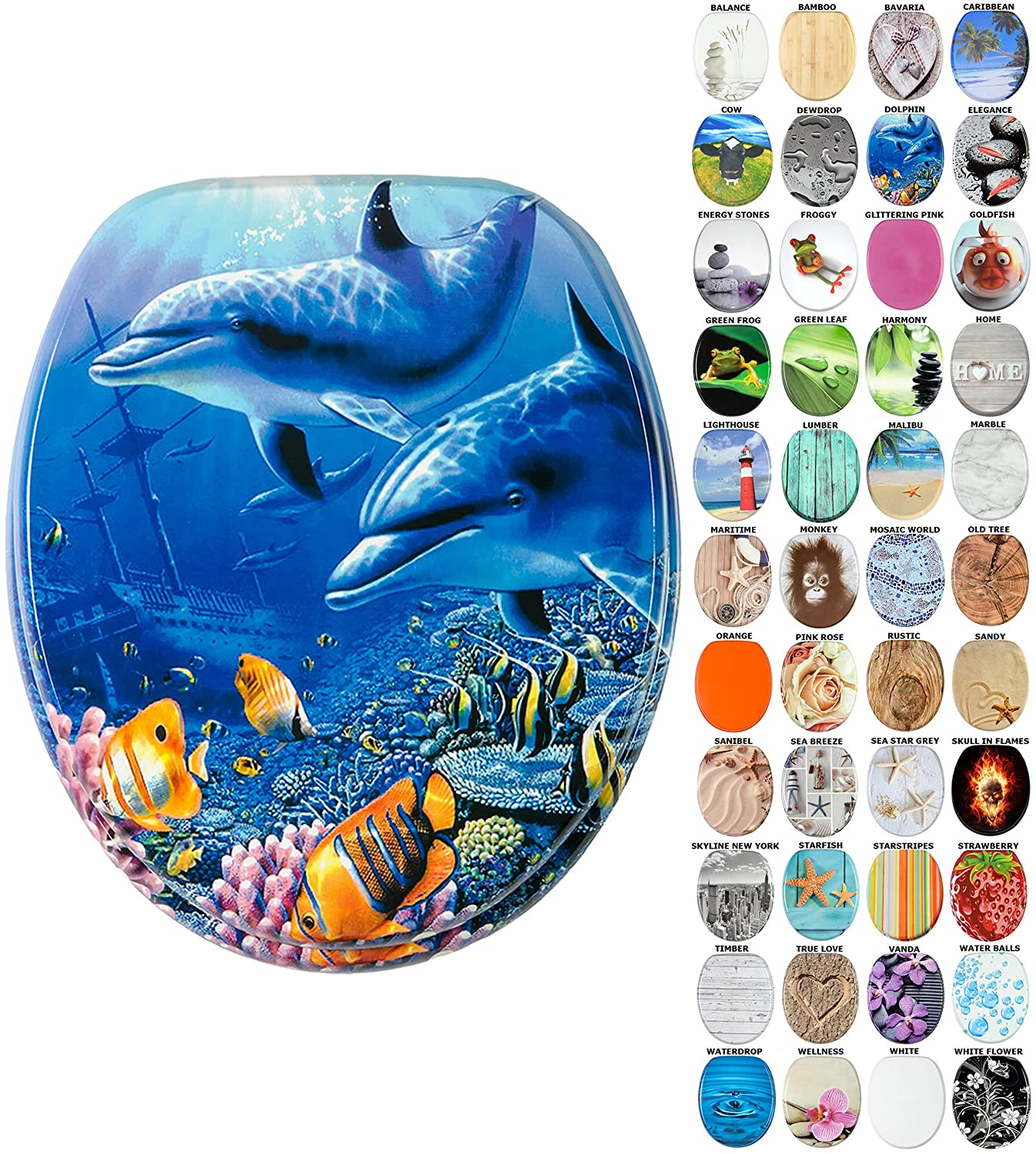 High Quality Toilet Seat   Wide choice of beautiful toilet seats   Stable  Hinges   Easy to mount    Dolphin  Amazon co uk  DIY   ToolsHigh Quality Toilet Seat   Wide choice of beautiful toilet seats  . Tropical Fish Toilet Seat. Home Design Ideas