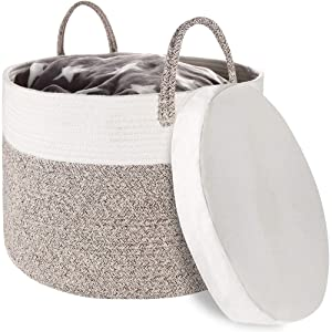 "Zannaki XXXL Extra Large Cotton Rope Basket, Thicker 22""x13.8"" Woven Baby Laundry Basket Storage with Water-Proof Base, Long Individual Handles for Blankets Toys Storage Bins Thread Laundry Hamper"