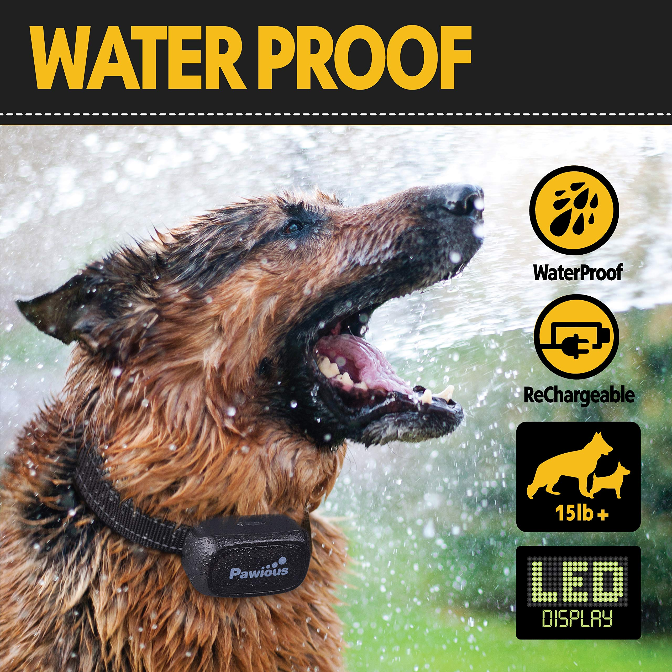 Pawious Dog Training Collar [Newest 2019] - Rechargeable Remote Dog Shock Collar Small Medium Large Dogs - Long Range, Waterproof, Large LED Screen, Beep, Vibration, Shock E-Collar by Pawious (Image #5)