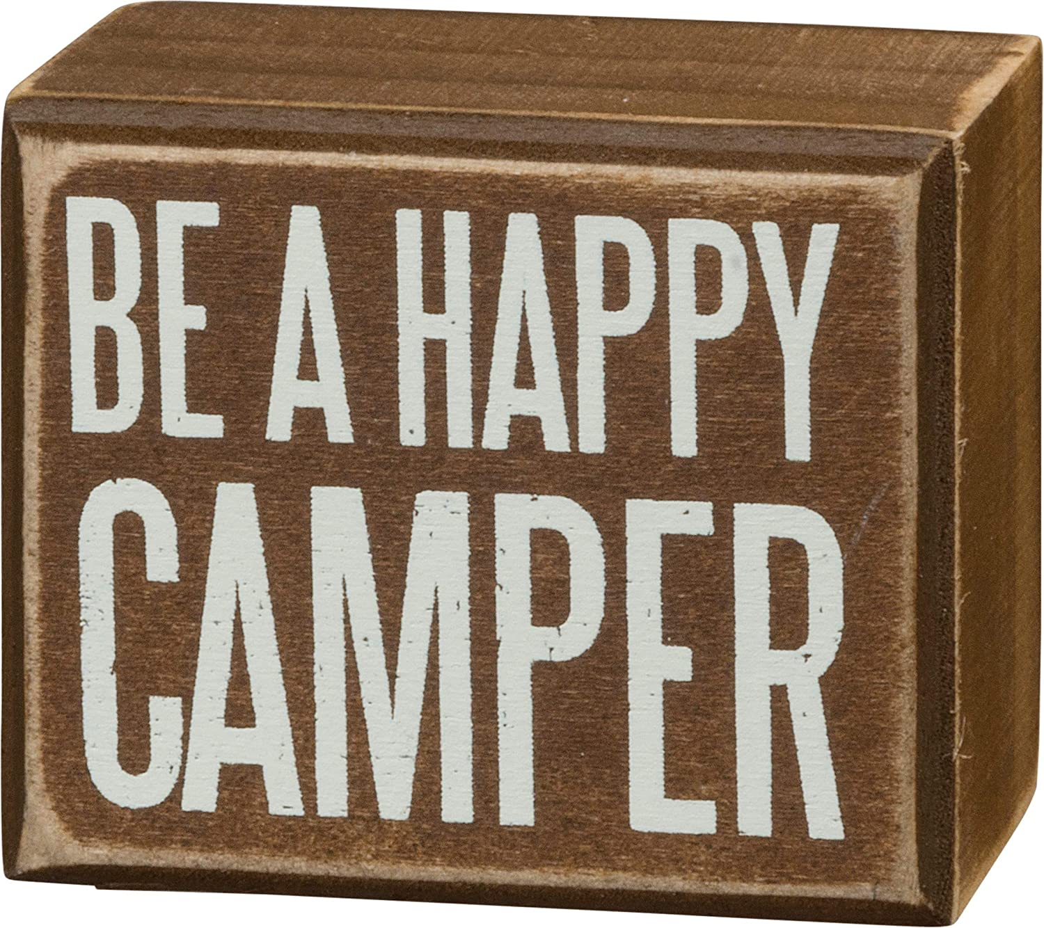 """Primitives by Kathy Rustic Box Sign, 3"""" x 2.5"""", Brown - Happy Camper"""