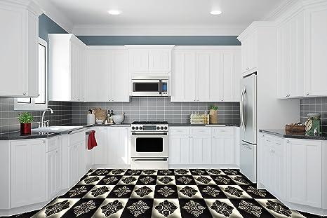 Rivestimento di Pavimento 3D per Cucina Vinile PVC Tappeto Decal ...