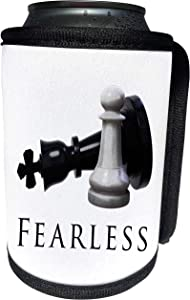 3dRose MacDonald Creative Studios – Chess - Fearless Chess pieces, a pawn taking down a queen, never show fear. - Can Cooler Bottle Wrap (cc_291861_1)