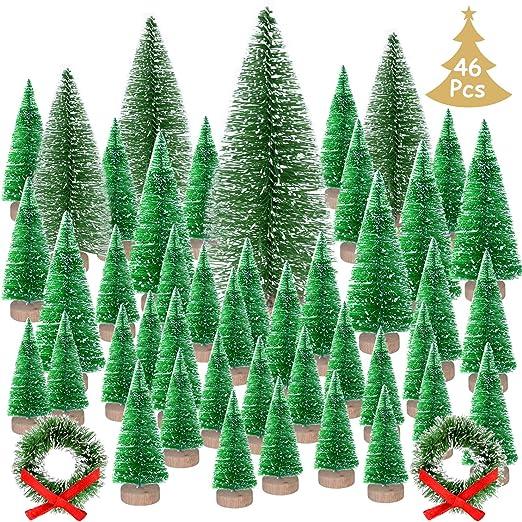KUUQA 46Pcs Mini Navidad Village Trees Cepillo de Botella Árboles ...