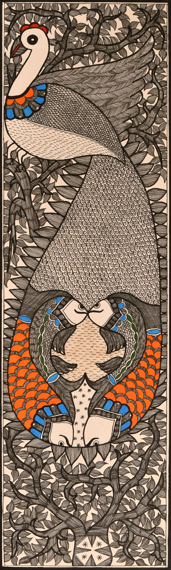 Peacock and Pairs of Fishes - Madhubani Painting on Hand Made Paper - Folk Painting from the Village