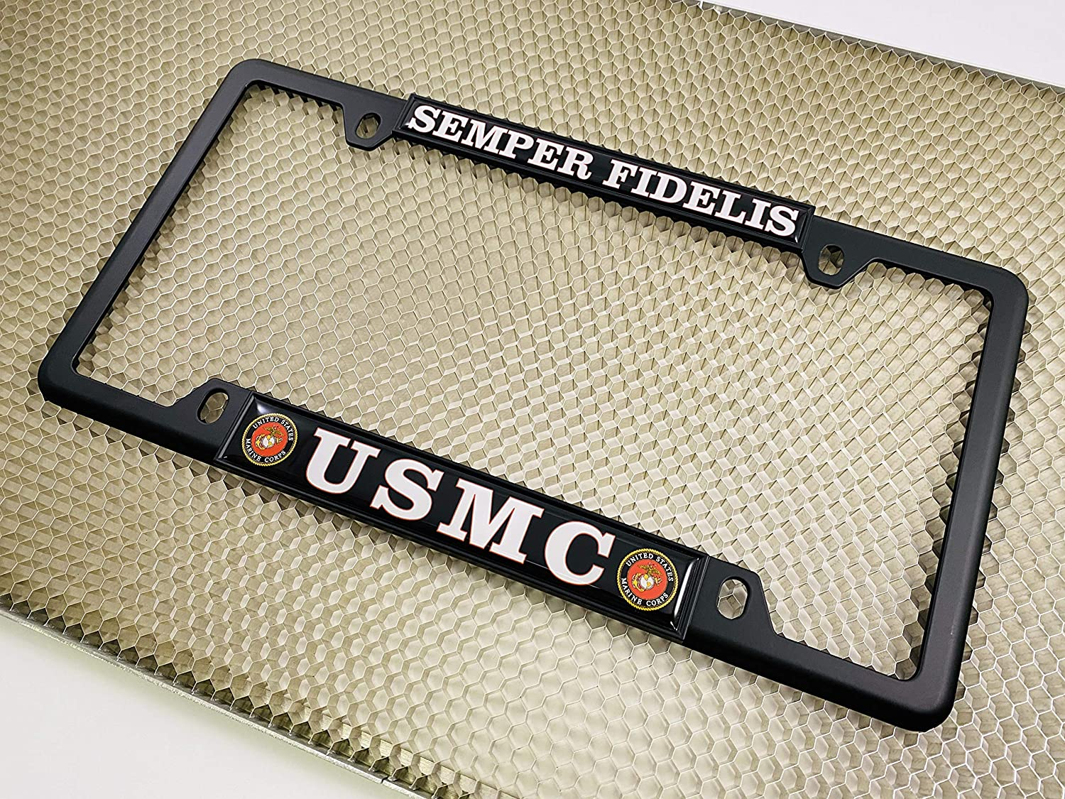 USMC Semper Fidelis Chrome Thin Top 4 Hole Metal Car License Plate Frame with Free caps Black /& White Text - Domed Custom-Made Personalized Narrow
