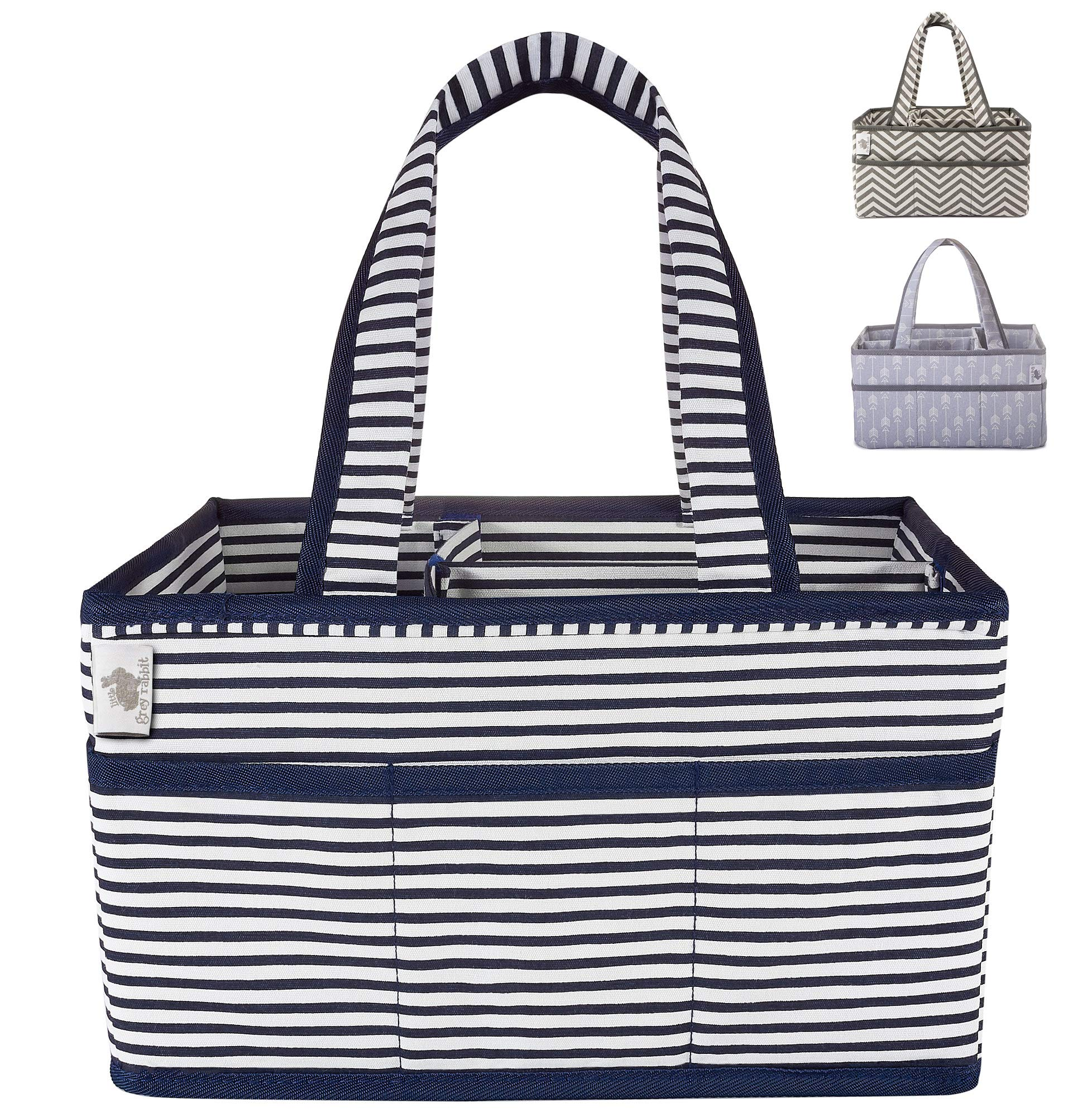Little Grey Rabbit Premium Baby Diaper Caddy | Nursery Storage Bin & Organizer Basket for Infant Items | Holds Diapers, Lotions, Wipes, More | Perfect Baby Shower Gift | Navy & White Stripe by Little Grey Rabbit