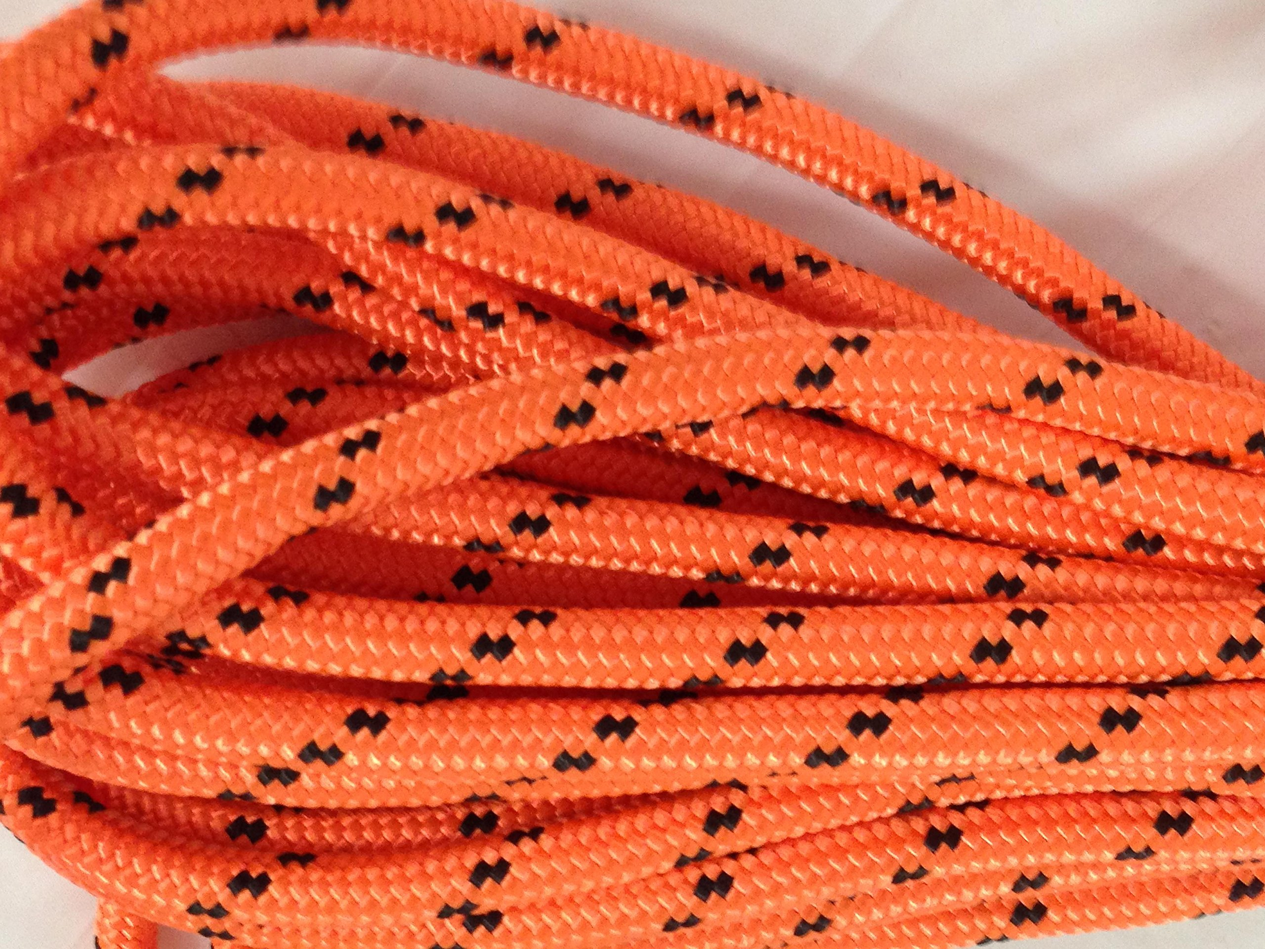 1/2'' x 100' Arborist Rigging Double Braided Polyester Rope, Orange and Black