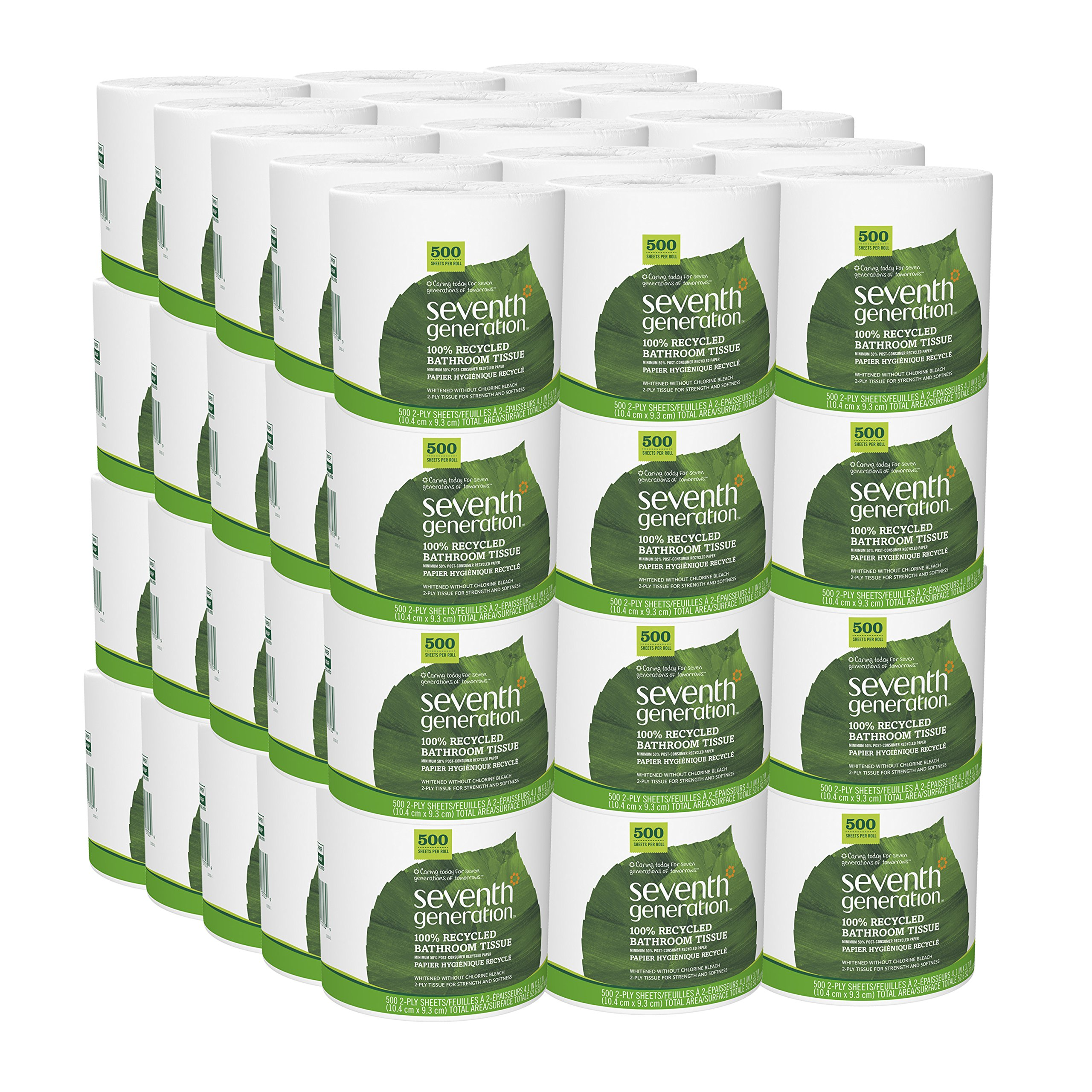 Seventh Generation Bathroom Tissue, 2 Ply Sheets, 500 Count (Pack of 60)