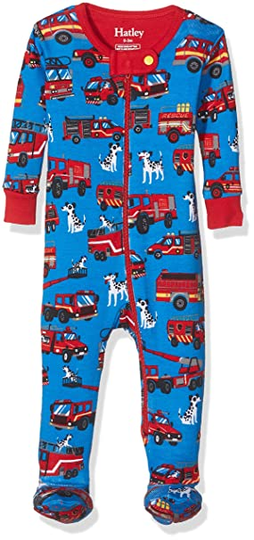 Hatley 100% Organic Cotton Footed Sleepsuit, Pelele para Dormir para Bebés, Azul (