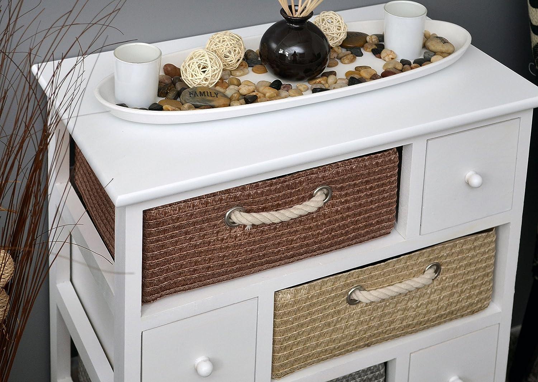 Com/ò con 4 cestini e 4 cassetti colore: Bianco altezza: 74 cm Ts-Ideen 4361