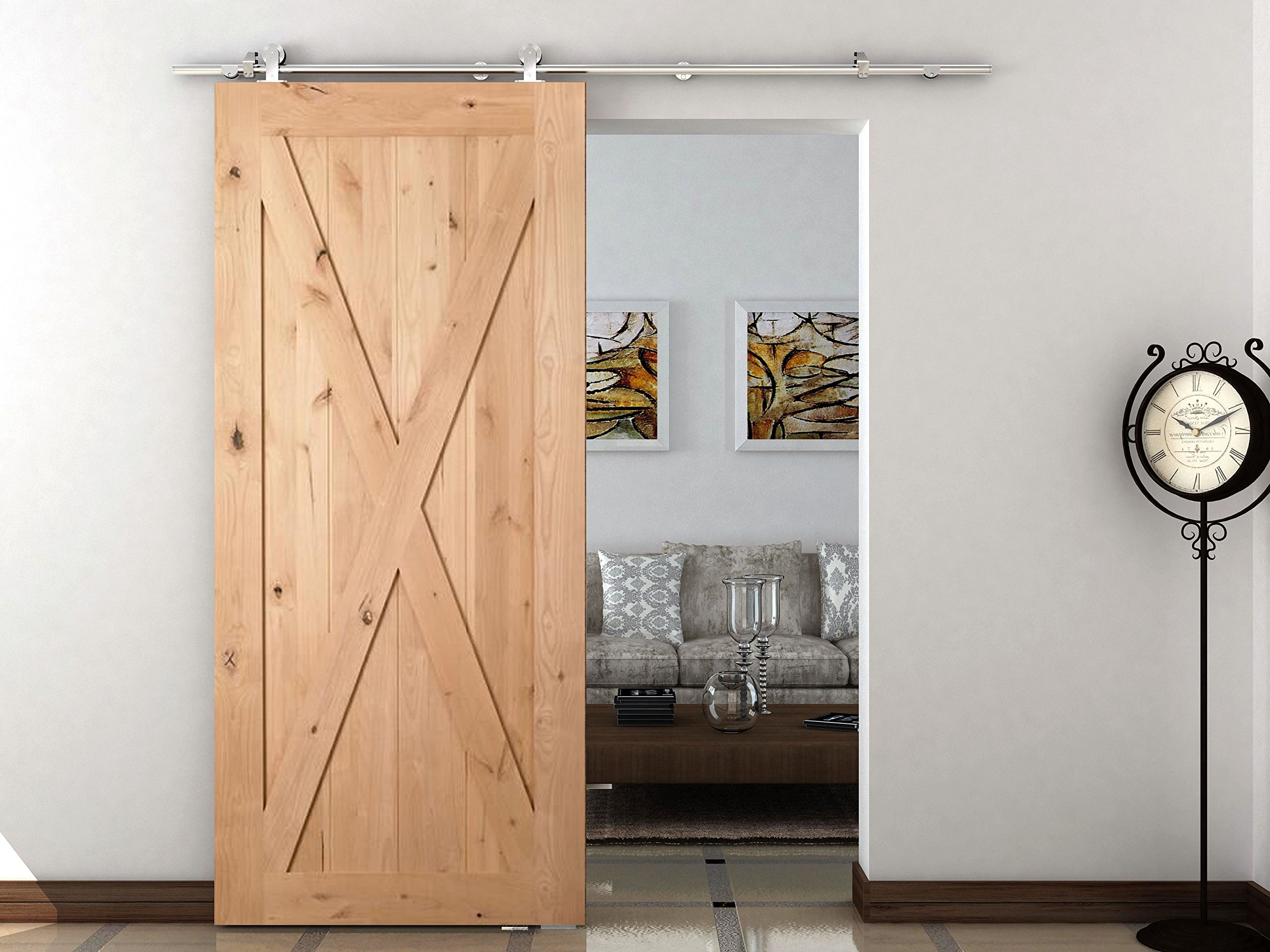 DIYHD 5FT Stainless Steel Top Mounted Sliding Barn Wood Door Closet Door Sliding Track Hardware Safety Pin Hanger Barn Door Sliding Kit-Can work with 16'' apart studs wall by DIYHD (Image #1)