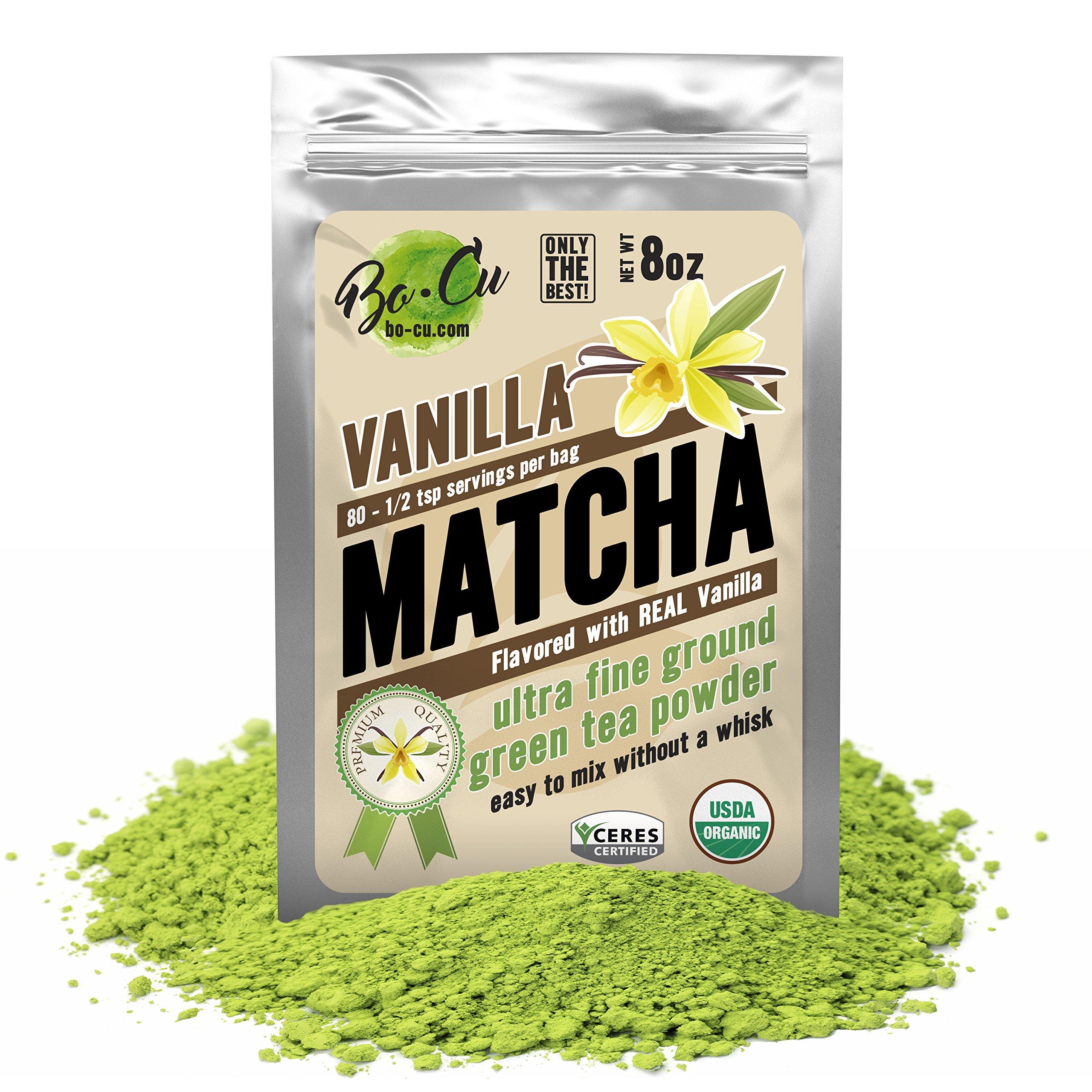 Vanilla Organic Matcha Green Tea Powder - 80 Servings, 8 oz - 2 Ingredients, Natural Flavored Instant Tea for Drinking, Smoothies or Baking, Grade A Matcha