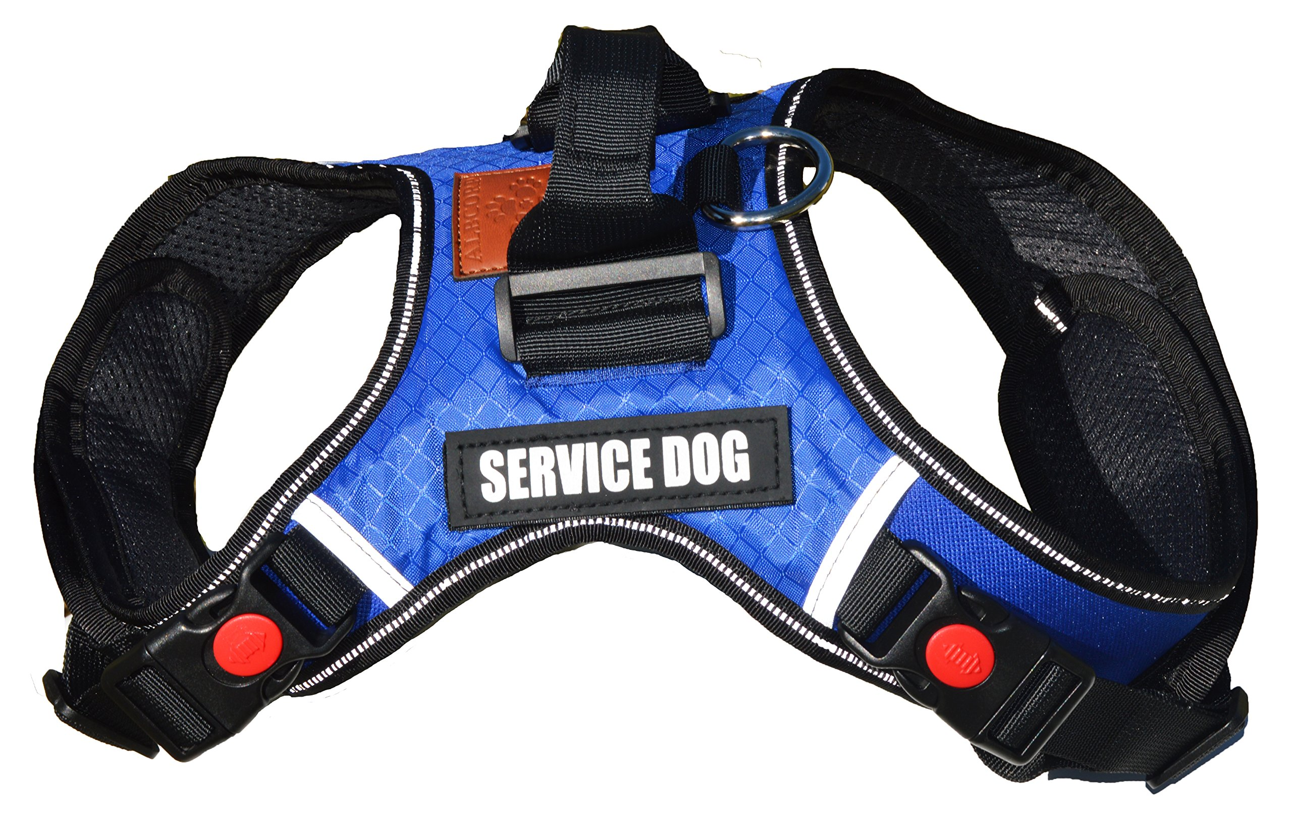 ALBCORP Reflective Service Dog Vest Harness, Woven Nylon, Neoprene Handle, Adjustable Straps, with Comfy Mesh Padding, and 2 Hook and Loop Removable Patches, Extra Large, Blue