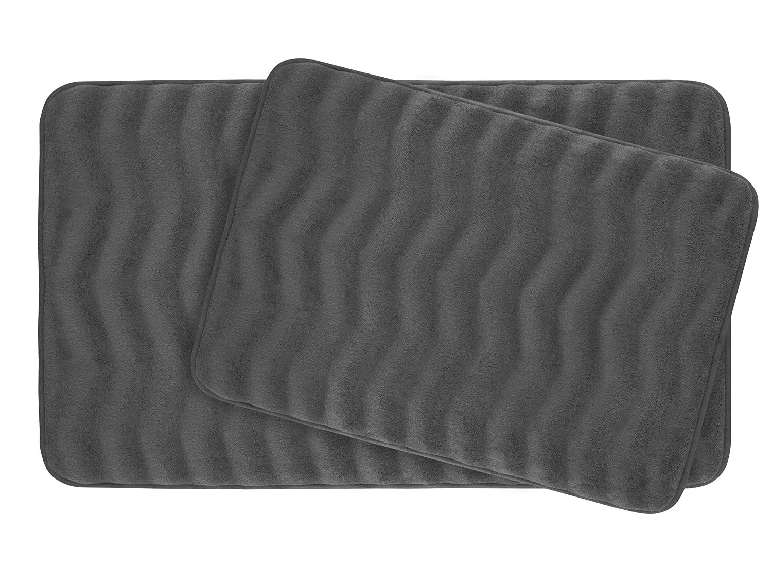 Bounce Comfort Waves Extra Thick Memory Foam Bath Mat Set - Plush 2 Piece Set with BounceComfort Technology, 20 x 32 in. Linen Creative Home Ideas YMB002572
