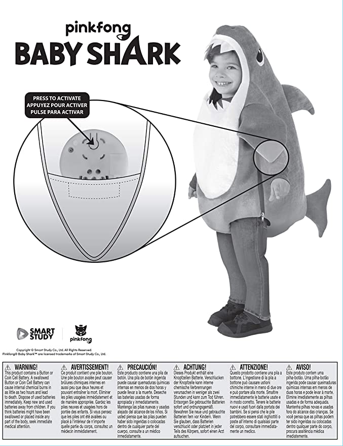Amazon.com: Rubies - Disfraz de tiburón para niño con chip ...