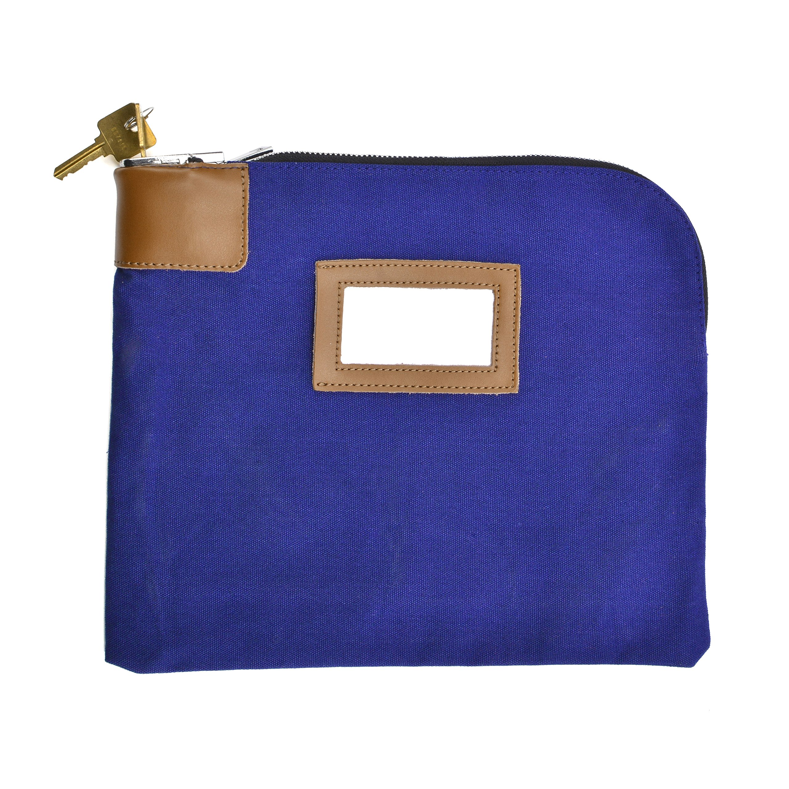 Security/Night Deposit Bag with 2 Keys, Locking Bank Bag Canvas 11 x 8-1/2 inches, Blue