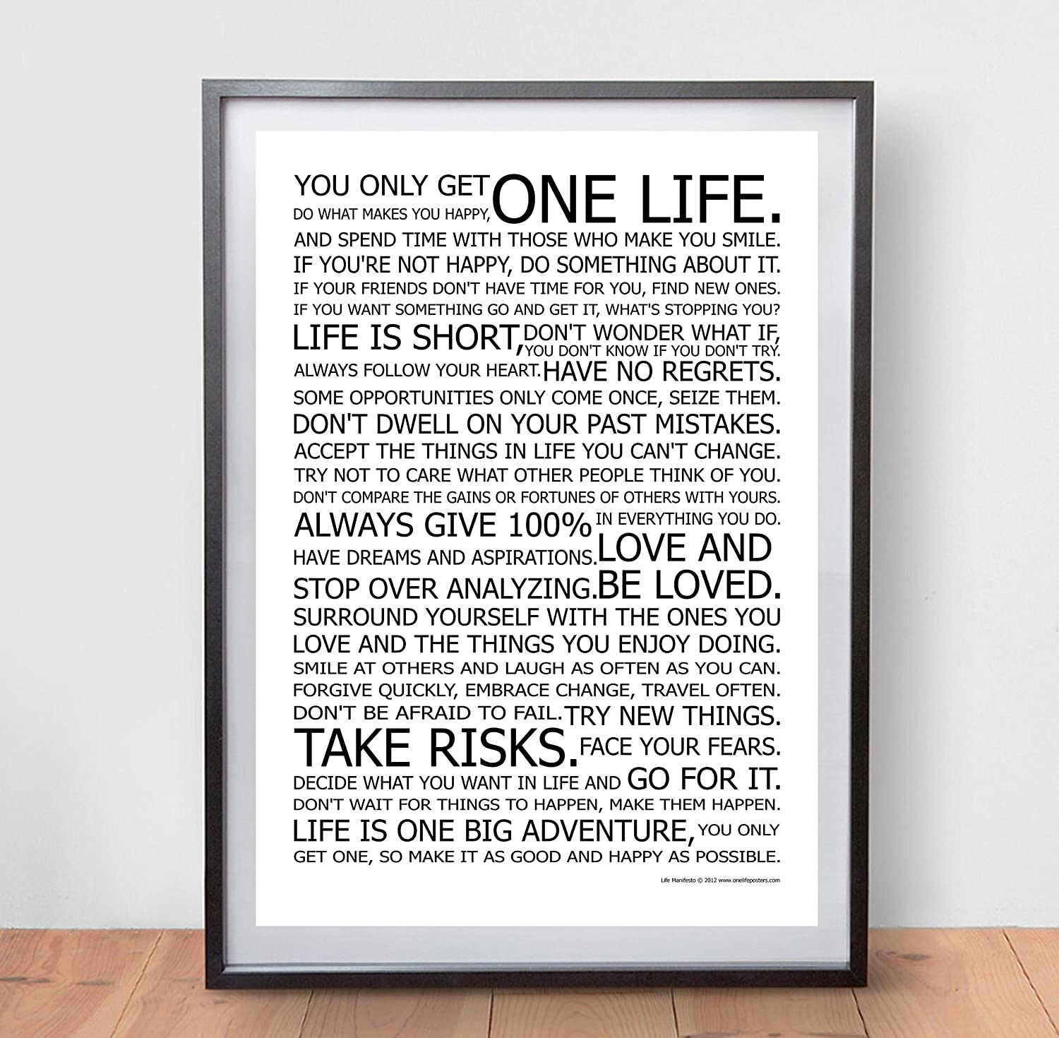 Life manifesto poster the world famous original motivational quote life manifesto poster the world famous original motivational quote wall art picture print size a2 420 x 594mm amazon kitchen home gumiabroncs Choice Image