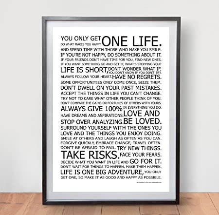 LIFE MANIFESTO POSTER   The World Famous Original Motivational Quote Wall  Art Picture Print   Size