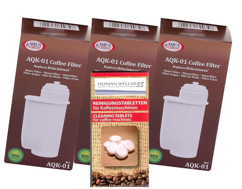 Human-Wellness EcoAqua 3 x Filtro de Agua para Bosch VeroBar ...
