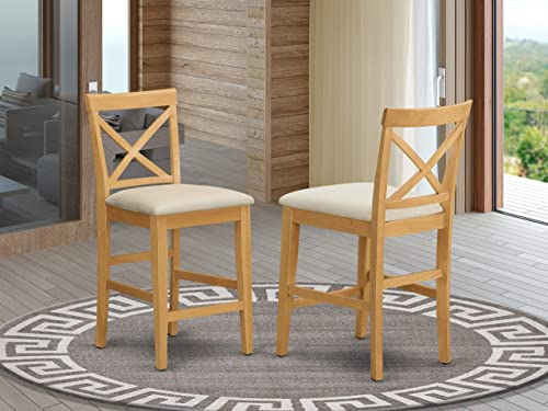 X-Back stool with upholstered seat in Oak finish