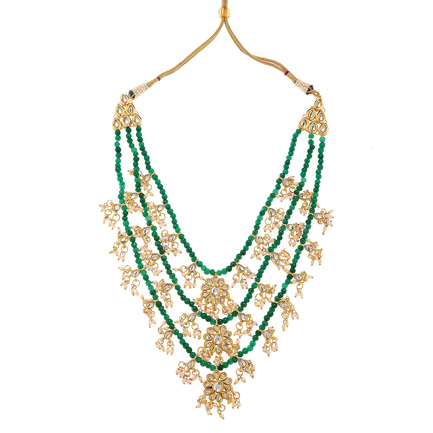 Handmade Kundan Necklace Earring Set Gold /& Green Women Fashion Necklace Set
