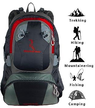 Mountainbock Mochila de senderismo 40 l Hombres Mujeres Rojo Negro - Mochila de trekking para camping impermeable - Mochila con protector de lluvia - 2019: ...