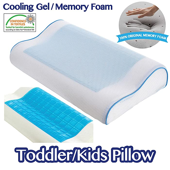 Comfyt Toddler Pillow Kids Pillow -Travel Cooling Pillow Contour Pillow Memory Foam Pillow Cool Gel Pillow with Removable Washable Ultrasoft Bamboo Pillow Case - Ideal for Kids up to 12 Year Kids
