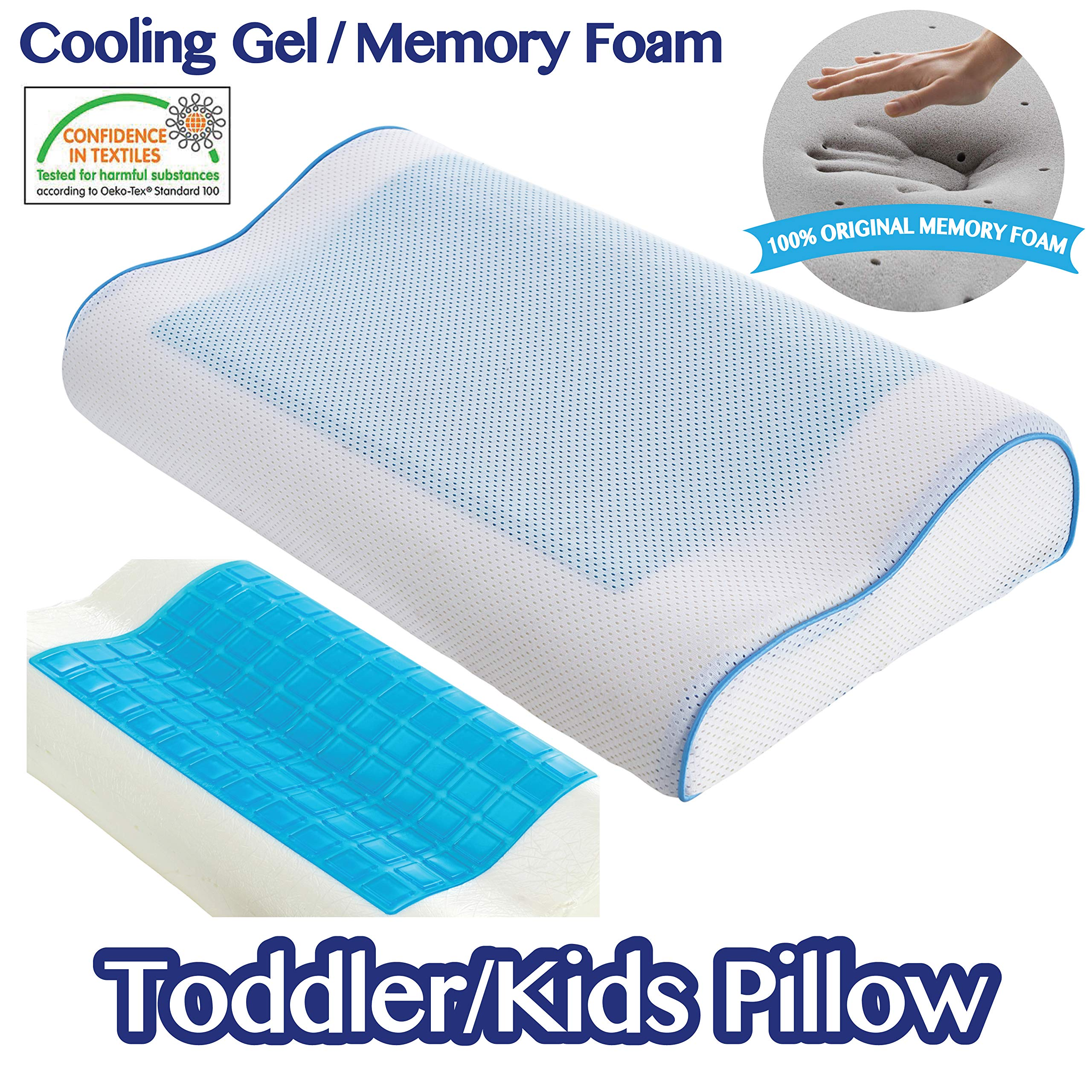 Kids Pillow - Cooling Pillow by Comfyt - Contour Pillow Memory Foam Pillow Cool Gel Pillow - Ideal for Kids up to 12 Year Kids
