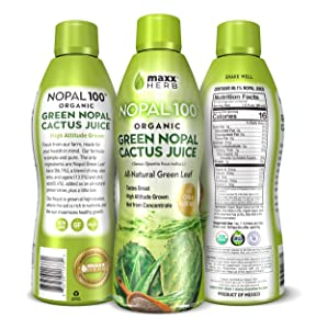 Maxx Herb Organic Green Nopal Cactus Juice (32 oz) With Chia Seeds, Aloe Vera and Agave – for Healthy Digestion, Blood Sugar Balance, And Immune Support, Vegan, Non-GMO and Gluten Free (1 Bottle)