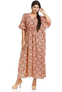 369fb405a2 Paisley Kaftan Caftan Long Dress Cotton Beach Cover Up Sleepwear Maxi Gown  Indian
