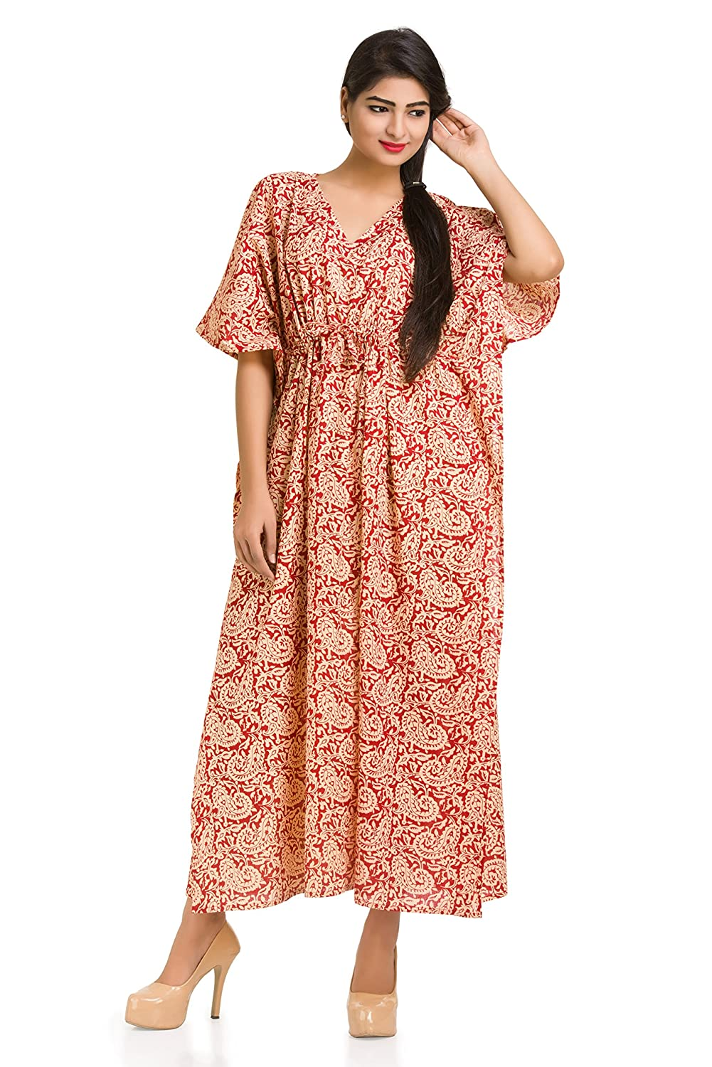 bed57a49077 Paisley Kaftan Caftan Long Dress Cotton Beach Cover Up Sleepwear Maxi Gown  Indian at Amazon Women s Clothing store