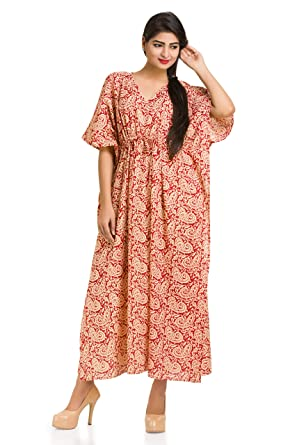 d236e7ab6e Image Unavailable. Image not available for. Color: Paisley Kaftan Caftan  Long Dress Cotton Beach Cover Up Sleepwear Maxi ...