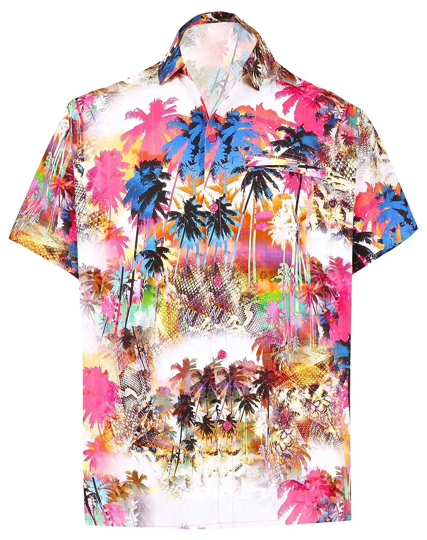 TALLA M - Pecho Contorno (in cms) : 101 - 111. LA LEELA | Funky Camisa Hawaiana | Señores | XS-7XL | Manga Corta | Bolsillo Delantero | impresión De Hawaii | Playa Playa Fiestas, Verano y Vacaciones 1911