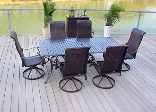 Pebble Lane Living Weather Resistant 7pc Powder-Coated Cast Aluminum and Wicker Swivel Rocking Patio Furniture Set
