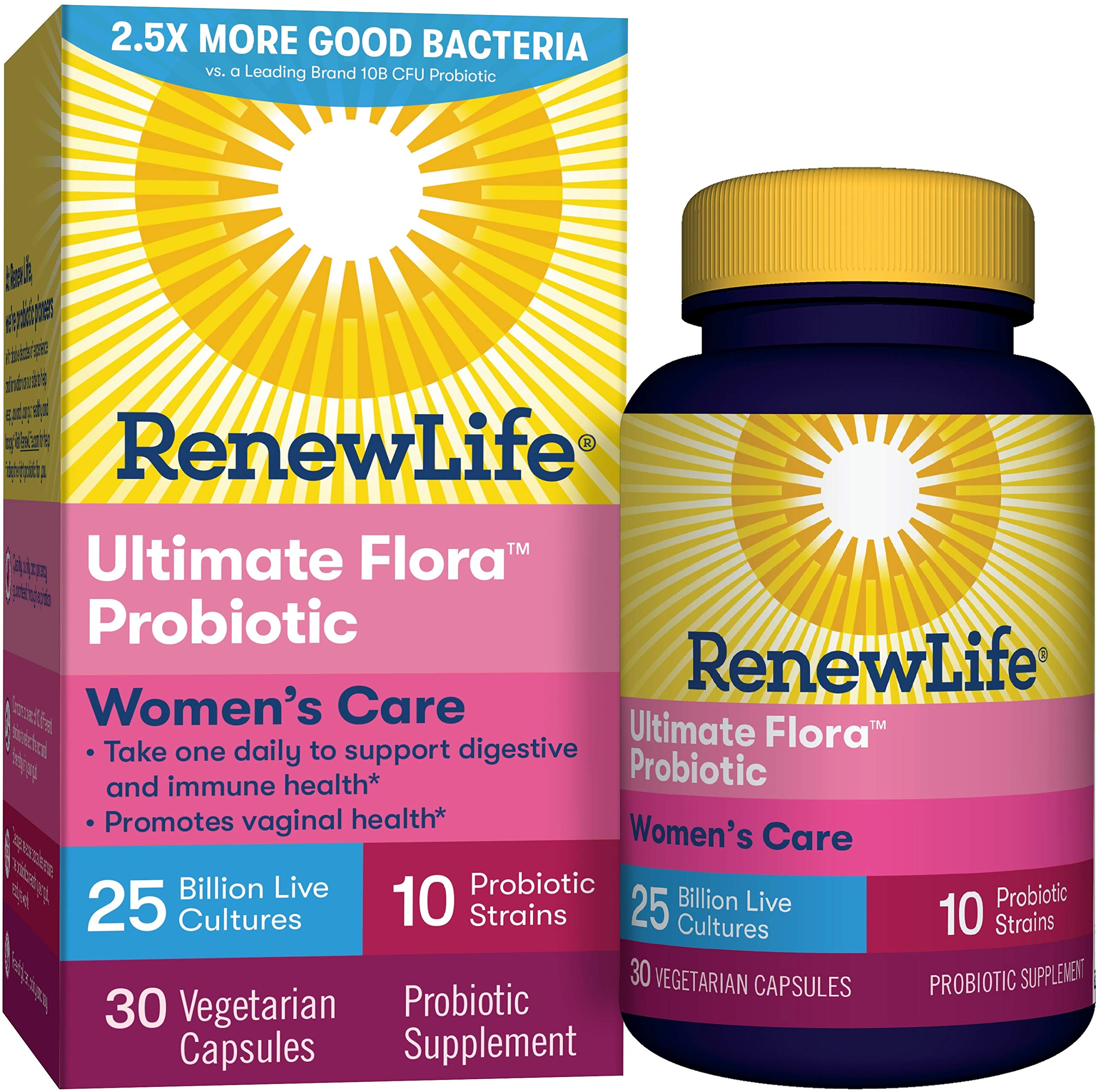 Renew Life #1 Women's Probiotic - Ultimate Flora Women's Care Shelf Stable Probiotic Supplement - Gluten, Dairy & Soy Free - 25 Billion CFU - 30 Vegetarian Capsules by Renew Life