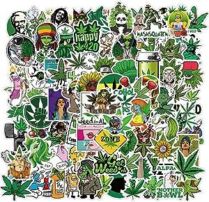 100Pcs Weed Stoners Stickers Pack Bulk  Cool PVC Fun Marijuana Stickers for Adults Vinyl Waterproof Stickers for Laptop Water Bottles Laptop Resin Bong Skateboard - Decal Cannabis 420 Smoke Stickers