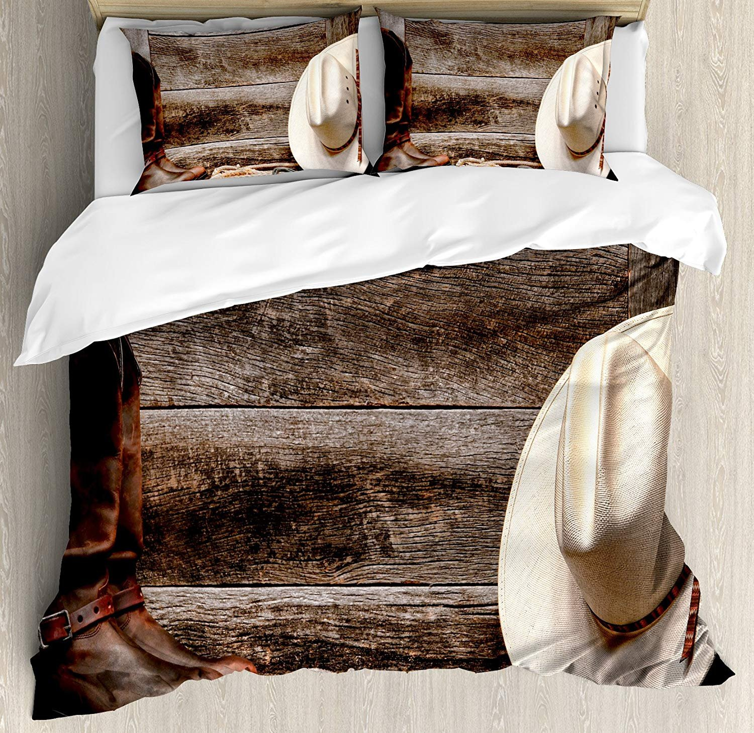 Funy Decor Western Bedding Set, American West Rodeo White Straw Cowboy Hat with Lariat Leather Boots on Rustic Barn Wood, 4 Piece Duvet Cover Set Bedspread for Childrens/Kids/Teens/Adults Twin Size