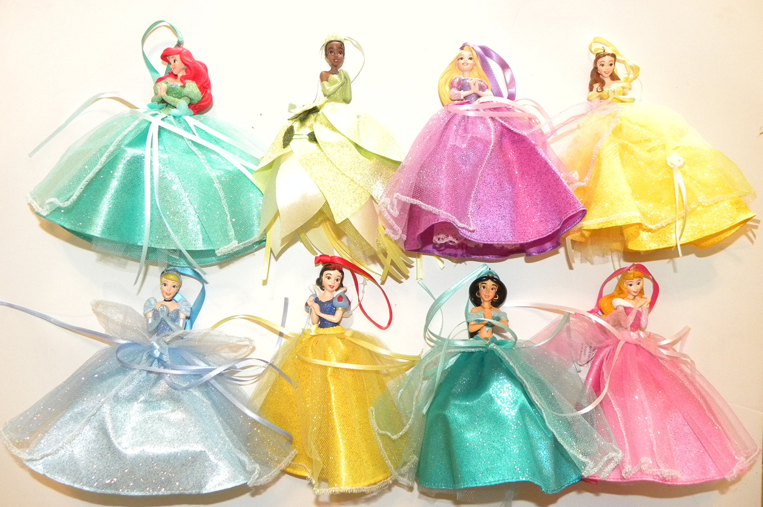 Disneyland Disney World WDW Parks Set All 8 2014 Princess Doll Evening Tuile Gown Dress Ariel Belle Jasmine Snow White Aurora Rapunzel Tiana Cinderella Holiday Ornaments Figurines